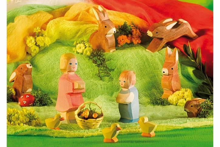 Postkarte Hase und Kinder von Ostheimer