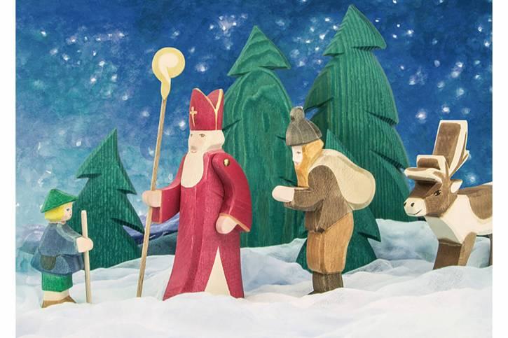 Postkarte St. Nikolaus und Knecht Ruprecht von Ostheimer
