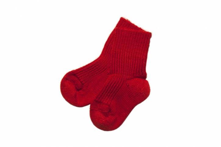 Socke Grobstrick von Hirsch Natur rot / 15-17
