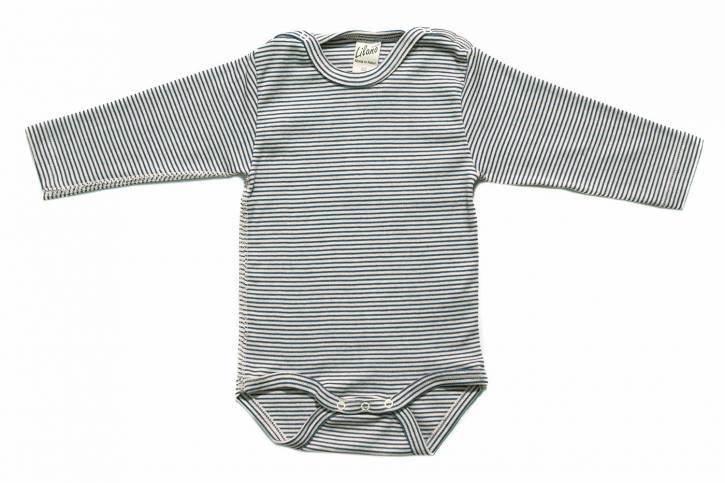 Baby Body langarm mit Schulterverschluss von Lilano Blau Natur Ringel / 56
