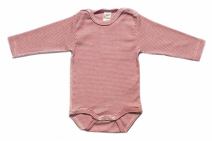 Baby Body langarm mit Schulterverschluss von Lilano Rot Natur Ringel / 62