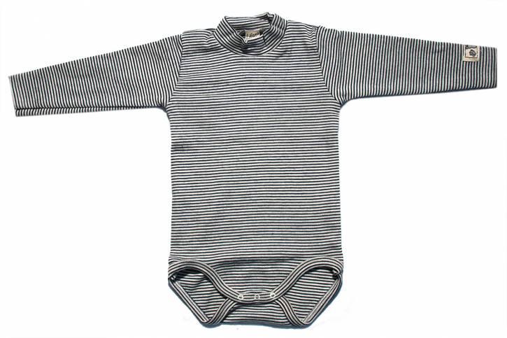 Baby Body langarm mit Stehkragen von Lilano Blau Natur Ringel / 74
