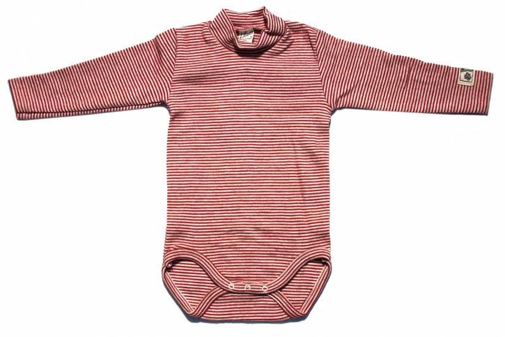 Baby Body langarm mit Stehkragen von Lilano Rot Natur Ringel / 68