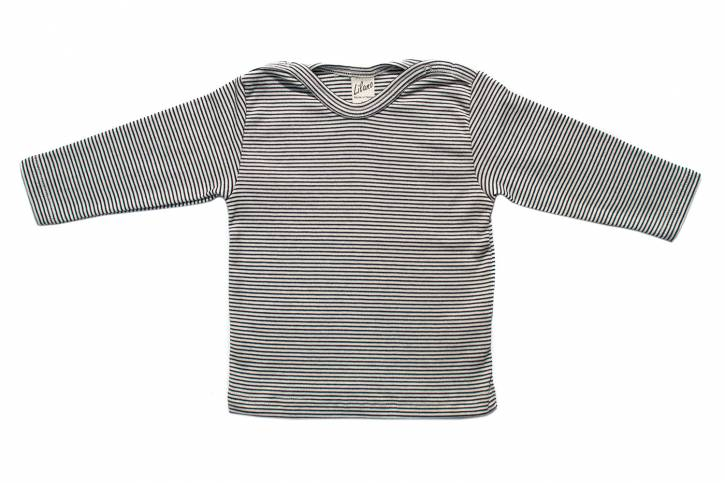Langarm Shirt mit Schulterverschluss von Lilano Blau Natur Ringel / 74