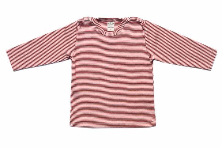 Langarm Shirt mit Schulterverschluss von Lilano Rot Natur Ringel / 62