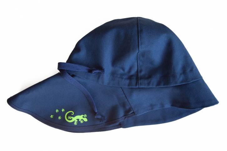 Sonnenschutz Mütze Feuerwehr UV80 aus Baumwolle von Pickapooh marine mit Gecko / 48