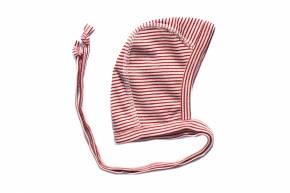 Erstlingsmütze Baumwolle Seide von Lilano Rot Natur Ringel / 50